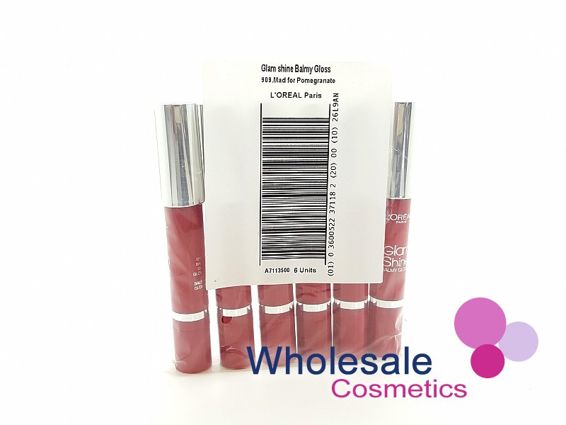 18 x L'Oreal Glam Shine Balmy Gloss - 909 Mad For Pomegranate