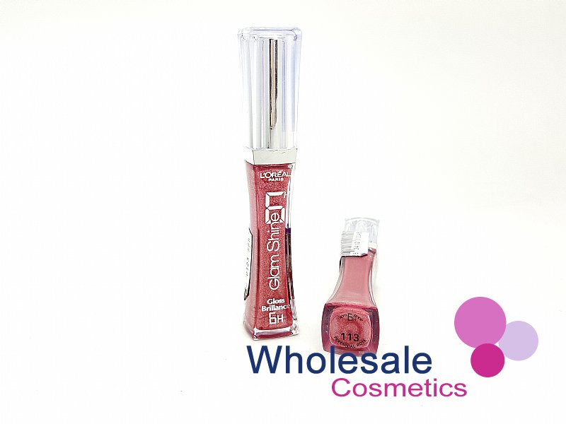 12 x L'Oreal Glam Shine Lip Gloss 6hrs Brilliance - 113 Perennial Rose