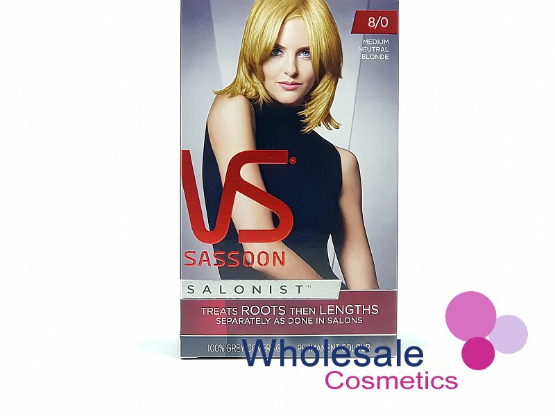 12 x Vidal Sassoon Salonist Permanent Hair Colour 8/0 MEDIUM NEUTRAL BLONDE