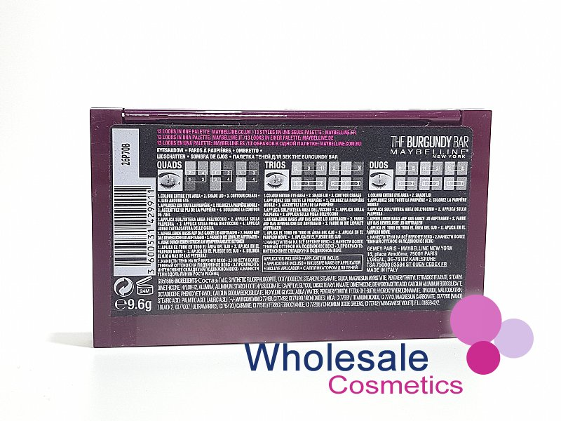 627b89c970f Wholesale Cosmetics - 12 x Maybelline The Burgundy Bar Eyeshadow Palette